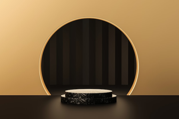 Palco de fundos de produtos de ouro de luxo ou pedestal de pódio em branco renderização em 3d