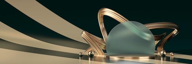 Palco de luxo dourado abstrato para exibição de produtos, renderização em 3d