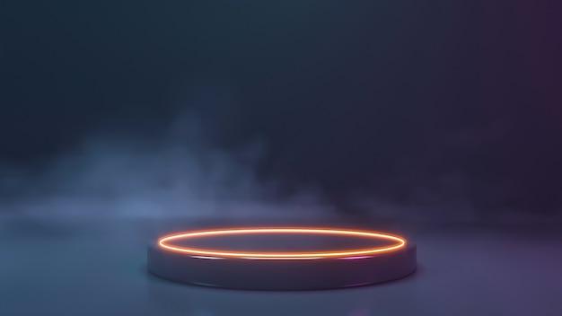 Palco de néon com parede de fumaça. renderização 3d