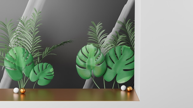 Palco de ouro na parede branca com folhas da planta monstera sobre um fundo de mármore preto. imagem de renderização de ilustração 3d.