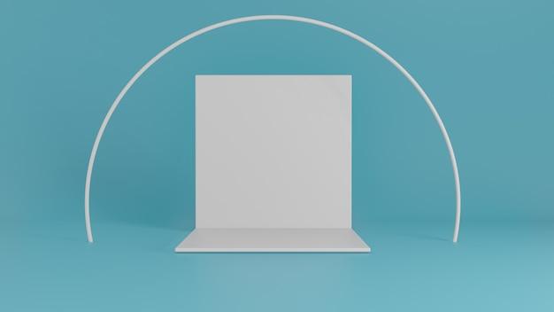 Palco de pano de fundo branco com círculo na sala com parede azul. renderização em 3d