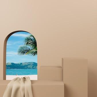 Palco de pódio 3d do conceito criativo para produtos de apresentação