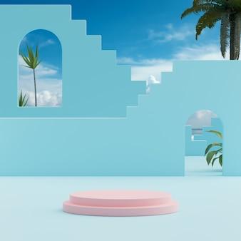 Palco de pódio céu azul com fundo de árvores tropicais para colocação de produto renderização em 3d
