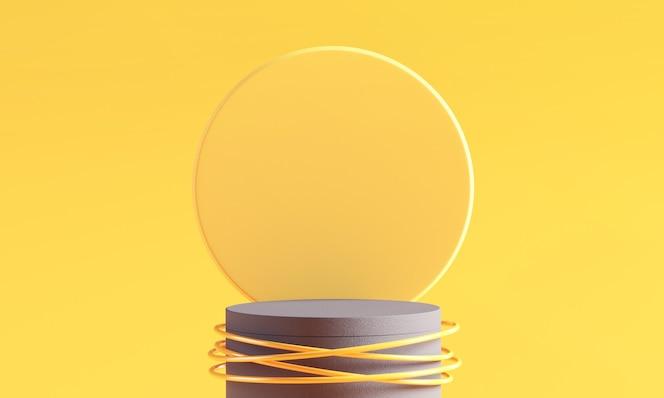Palco de pódio geométrico do cilindro em fundos amarelos e cinza