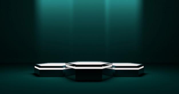 Palco de pódio hexagonal para produto, iluminação fraca, ambiente tecnológico