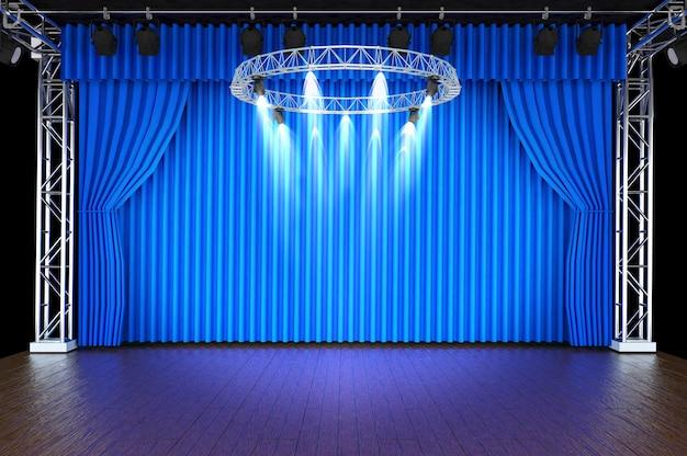 Palco de teatro com cortinas azuis e holofotes