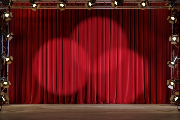Palco de teatro com cortinas de veludo vermelho e holofotes