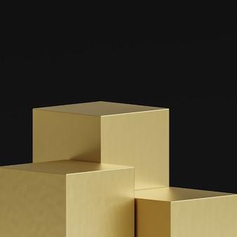 Palco dourado com três pódios em preto