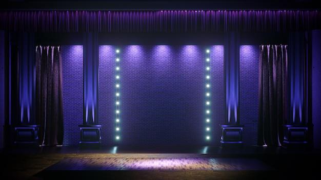 Palco escuro e vazio com holofotes. comédia, standup, cabaré, palco de boate 3d render.