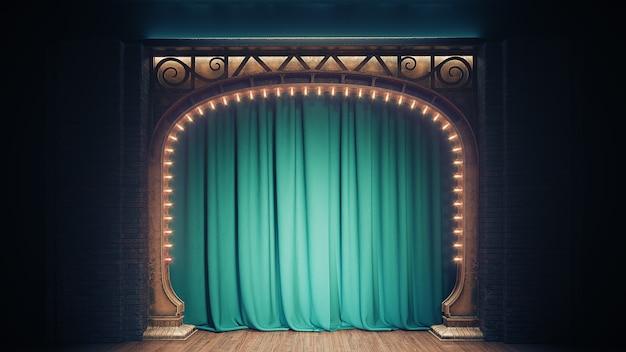 Palco escuro e vazio de cabaré ou clube de comédia com cortina verde e arco art nuovo. renderização 3d.