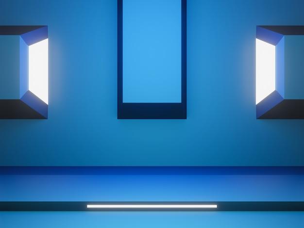 Palco futurista azul 3d com luz branca.