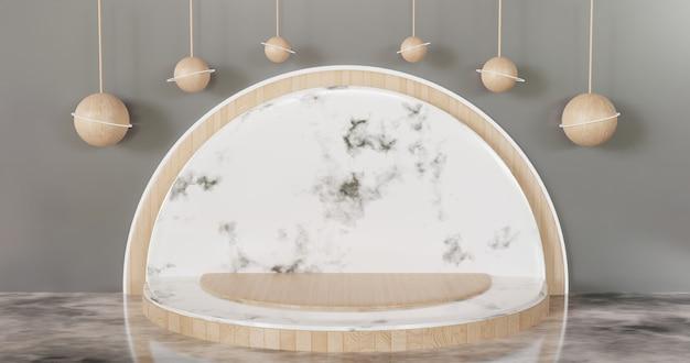 Palco minimalista de luxo branco vitrine pódio para produto, cerâmica, mármore, pedestal de madeira, fundo renderizado 3d