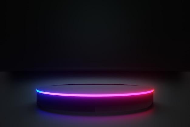 Palco ou pódio black circle com luzes de néon para o seu produto, fundo escuro, renderização 3d