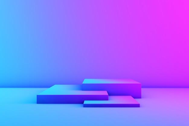 Palco para produtos em cores neon. luzes de neon de estúdio. magenta e ciano. 3d rendem. copyspace