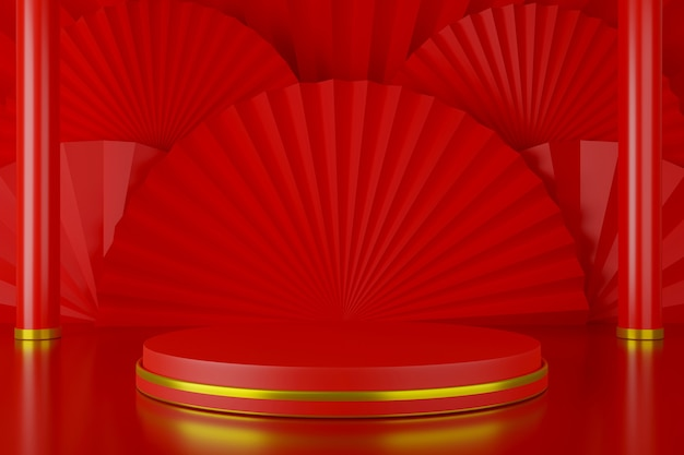 Palco pódio redondo vermelho com fundo de estilo chinês de fã de arte de papel, renderização em 3d.