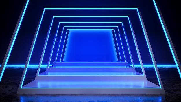 Palco quadrado com blackground de luz de néon e piso de concreto, luz azul, render 3d