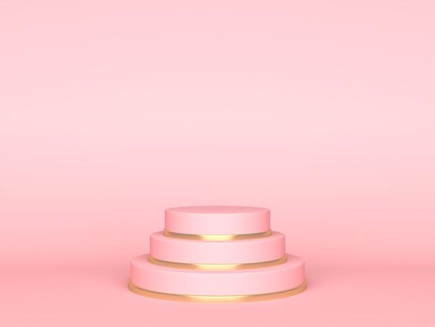 Palco redondo rosa sobre fundo rosa. pano de fundo para exibição do produto. renderização 3d