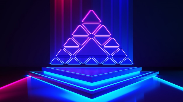 Palco triangular com e e luz neon roxa
