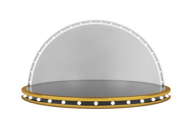 Palco vazio com luzes sobre um fundo branco. renderização 3d