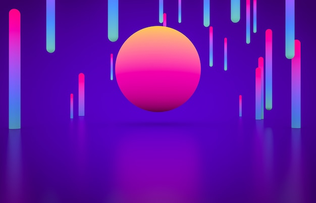 Palco vazio de forma geométrica futurista com cor de néon brilhante.