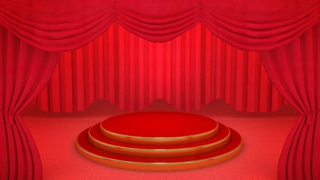 Palco vermelho e dourado no fundo da cortina vermelha do teatro, renderização em 3d.