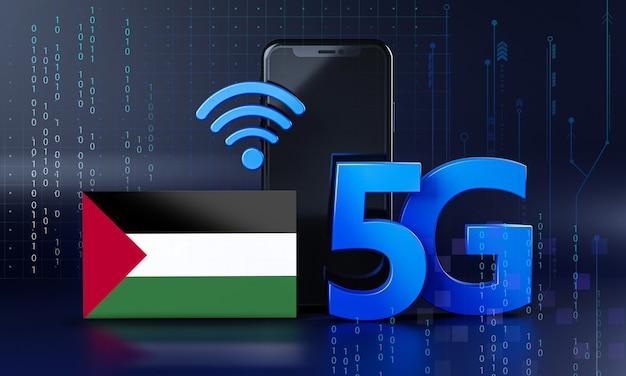 Palestina pronta para o conceito de conexão 5g. fundo de tecnologia de smartphone de renderização 3d