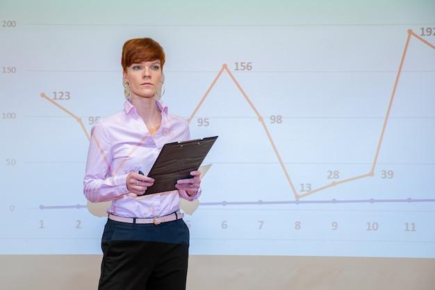 Palestras de jovens professores na escola de matemática mostram gráficos em placas brancas