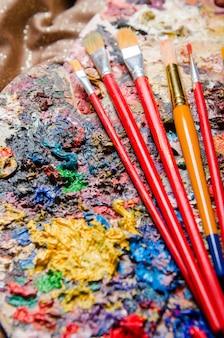 Paleta de artista de cores