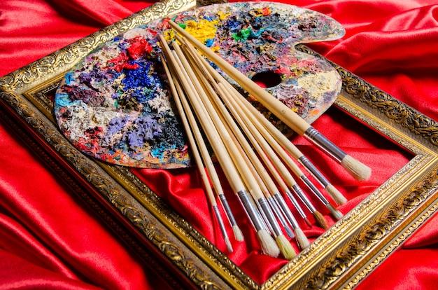 Paleta de artista no conceito de arte