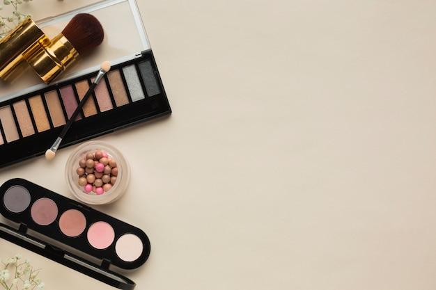 Paleta de blush e maquiagem da vista superior
