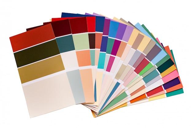 Paleta de cores com várias amostras.