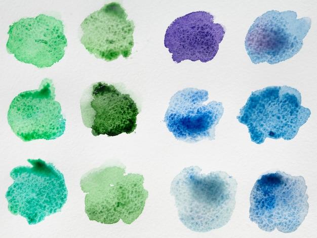 Paleta de cores de manchas de aquarela