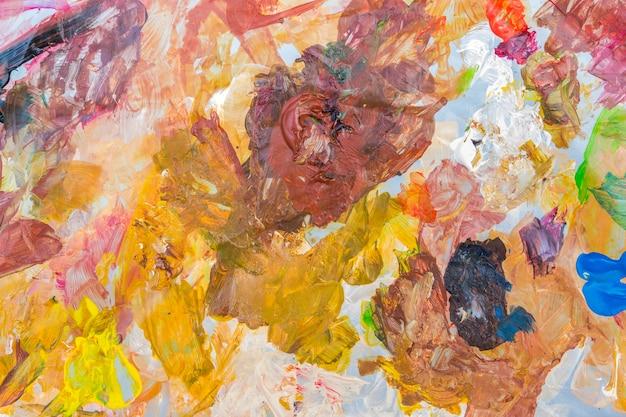 Paleta de tinta acrílica abstrata de colorido, misturar cores, plano de fundo