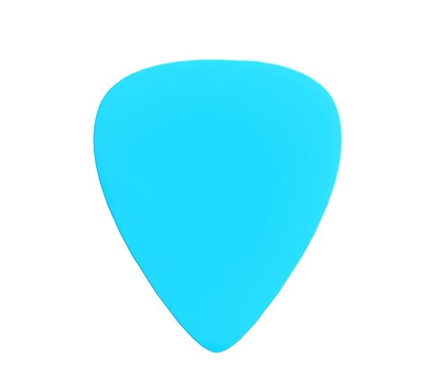 Palheta de guitarra de plástico azul isolada em um fundo branco