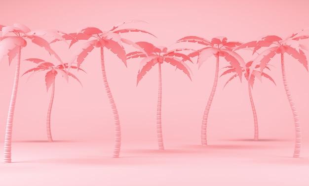 Palma rosa em um fundo pastel d renderização