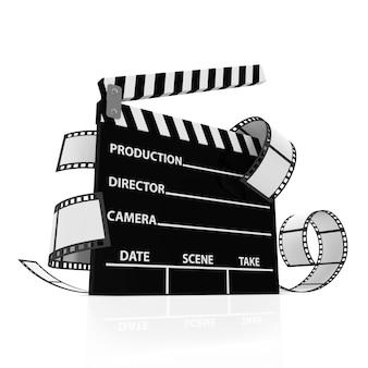 Palmas de cinema com fundo isolado de tira de filme Foto Premium