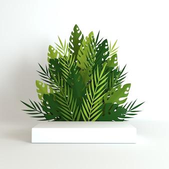 Palmeira de papel tropical, quadro de folhas e flores de monstera, plataforma de pódio para apresentação de produtos