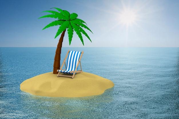 Palmeira na ilha e espreguiçadeira. ilustração 3d