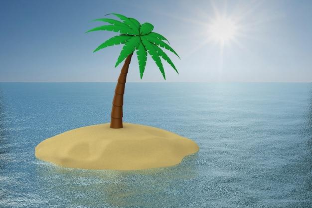 Palmeira na ilha. ilustração 3d