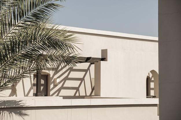 Palmeira tropical com folhas verdes exuberantes perto da casa branca, edifício do resort com fundo de céu azul. viagem, conceito de férias de verão