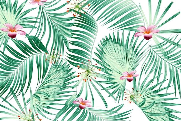 Palmeira verde tropical e fundo de flores
