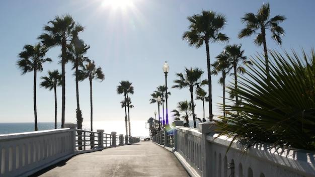Palmeiras e cais, resort de praia do oceano tropical oceanside, costa da califórnia de verão em dia ensolarado, eua. brilho ofuscante do sol deslumbrante, explosão de sol brilhante no céu claro. sol e vento, mar ensolarado de verão.