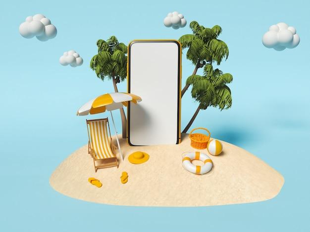 Palmeiras e praia com cadeira, guarda-sol e smartphone na areia. conceito de viagens e férias de verão.