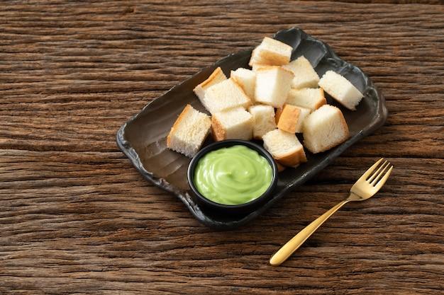 Pandan creme pão tailandês sobremesa doce