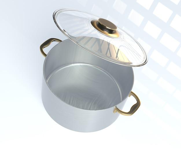 Panela de aço inoxidável com tampa de vidro aberta isolada em um fundo branco. renderização 3d