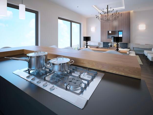 Panelas em um fogão a gás em apartamentos estúdio de vanguarda.