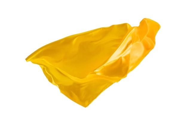 Pano amarelo transparente elegante liso separado em fundo branco.