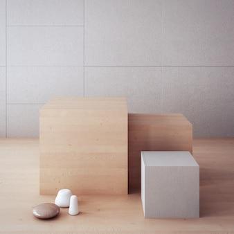 Pano de fundo atemporal / caixa de exibição / interior em 3d