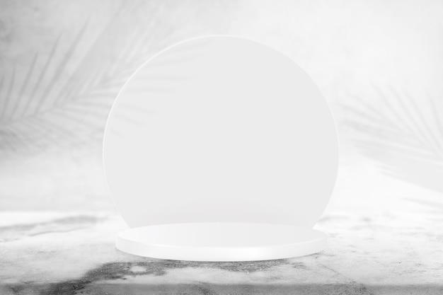 Pano de fundo do produto com pódio de exibição 3d e sombras de folhas