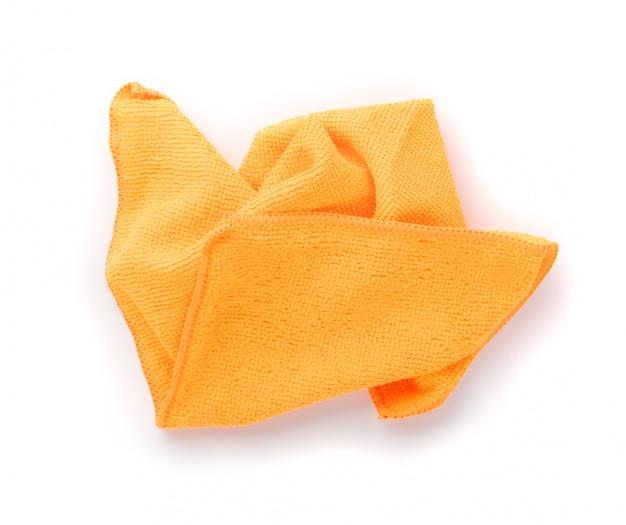 Pano de limpeza de microfibra laranja isolado no fundo branco